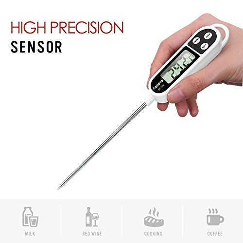 Digital Cooking Thermometers, Accevo Larger Screen Display Stainless Thermometer for Food, Meat, Grill, Milk, Candy, with Long Probe, Auto Shutdown