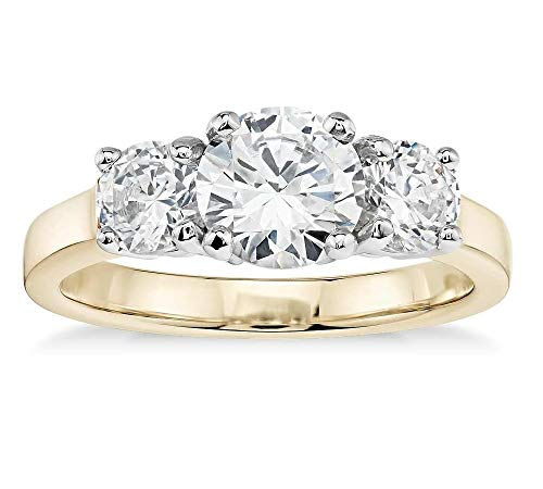 (14K Solid Yellow Gold 3.0 Carat Three-Stone CZ Engagement Ring, Size 6)