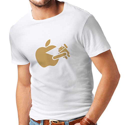 (T Shirts for Men Funny Apple Eating a Robot - Gift for tech Fans (Medium White Gold))