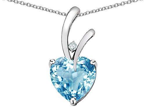 - Star K Heart Shape 8mm Genuine Sky Blue Topaz Endless Love Pendant Necklace 10 kt White Gold