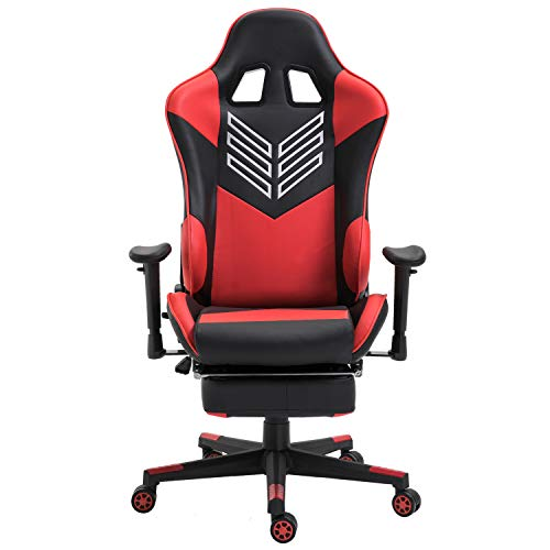 Baishitang Gaming Chair with Footrest PU Leather Ergonomic Racing Computer Chair Large Size High-Back Office Chair with Headrest and Lumbar Support(Red)