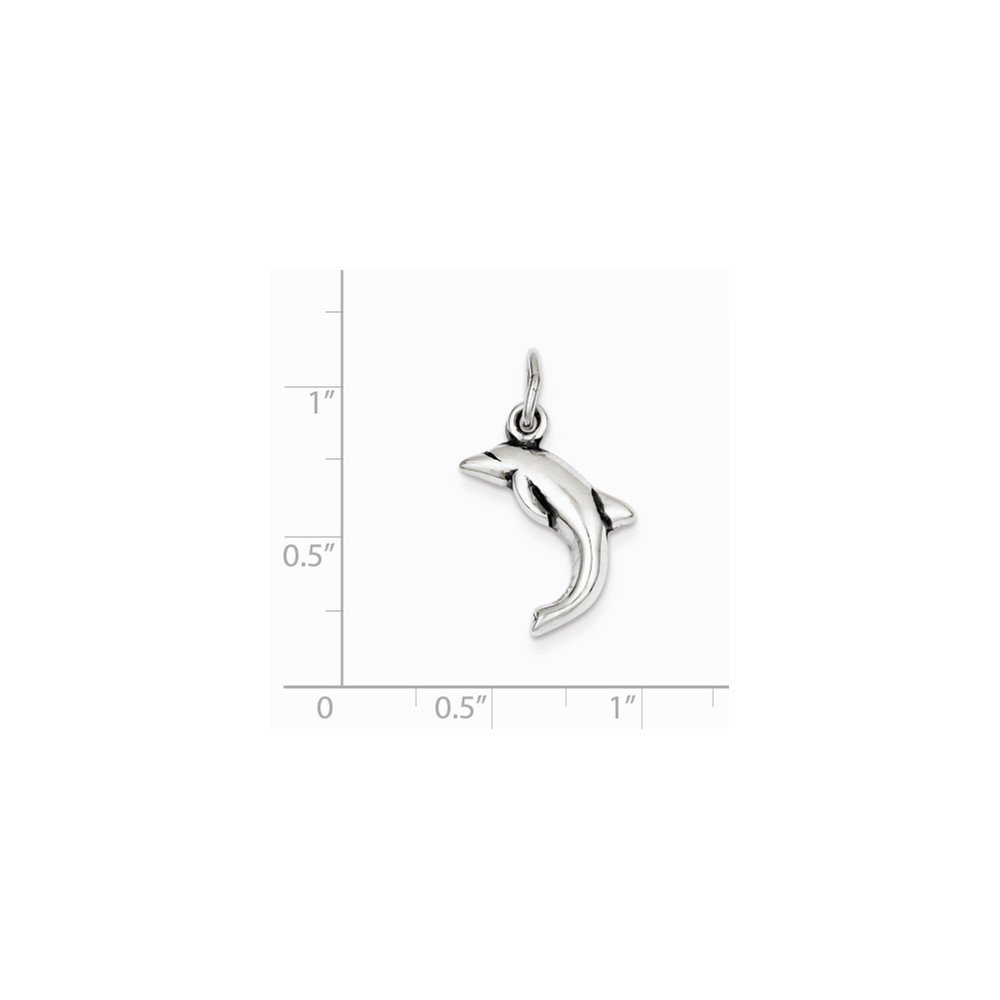 Sterling Silver Antiqued Dolphin Charm