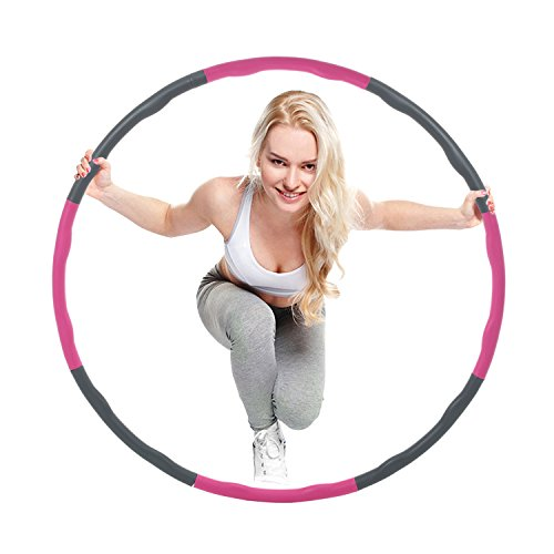 Fitness Splicing Hula Hoop,8 Section Detachable Design,2.4 Pound Hula Hoop Does Not Cause the Pressure of the Lumbar Spine, And the Wave - Shaped Radian Massage is (Design Large Hoop)