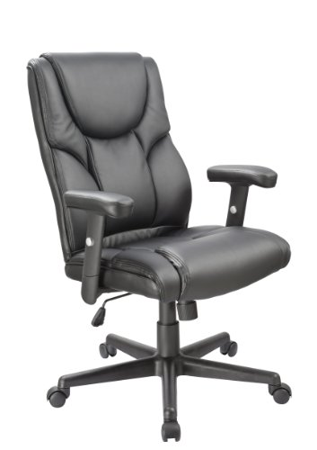 Office Factor Leather Executive Office Chair, Ergonomic Chair with Lumbar Support, Swivel Chair, Black Leather Executive Chair For Office