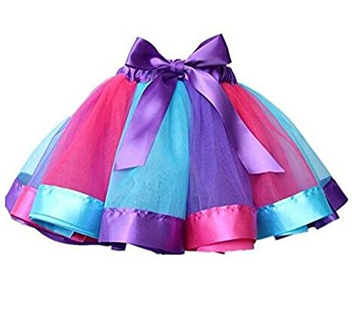 Little Kids Girls Rainbow Skirt Cute Tutu Dance Ballet Party Dress