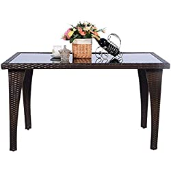 TANGKULA Outdoor Patio Dining Table with Tempered Glass Desktop for Garden Poolside Backyard Indoor All Weather Study Modern Rectangular Rattan Wicker Table Coffee Table with Glass Top, Brown