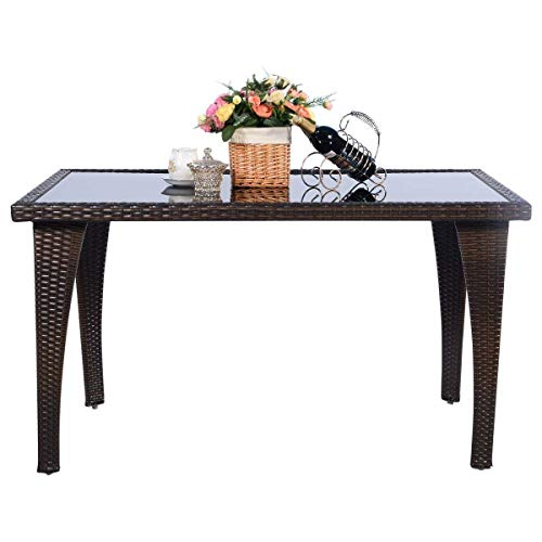 TANGKULA Outdoor Patio Dining Table with Tempered Glass Desktop for Garden Poolside Backyard Indoor All Weather Study Modern Rectangular Rattan Wicker Table Coffee Table with Glass Top, Brown For Sale