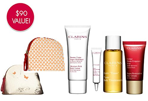 Clarins Travel Pouch & Gift Set - Moisture Rich Body Lotion, Super Restorative Day Cream, Tonic Body Oil, UV Plus Non Tinted Sunscreen & Pouch