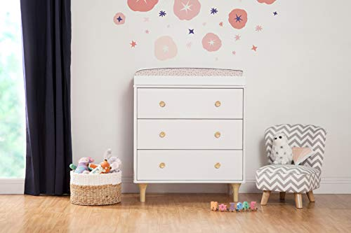 Babyletto Lolly 3-Drawer Changer Dresser with Removable Changing Tray, White / Natural