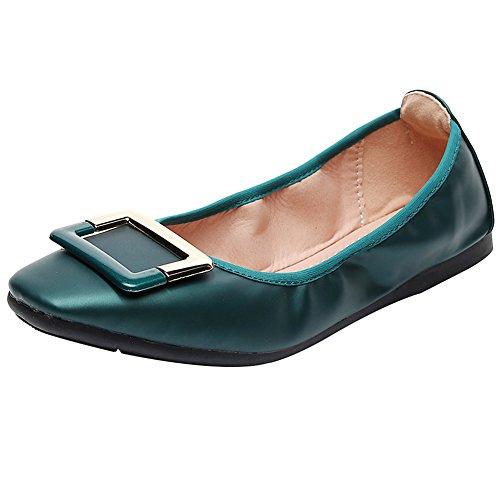 rismart Zapato Bailarinas Zapatillas Cuadrada Ponerse Mujer Verde Hebilla Plano 6x16f