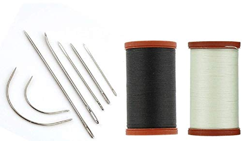Upholstery Repair Kit Coats Extra Strong Upholstery Thread Plus Heavy Duty Assorted Hand Needles: 7 Needles and 2 spools 150 Yards Each (Black & Natural)