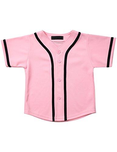 Jersey Cap Sleeve Raglan Shirt - Hat and Beyond Kids Baseball Jersey Button Down T Shirts Active Uniforms XXS-XL 5KSA0002 (02T, 5pu01_pnk.blk)