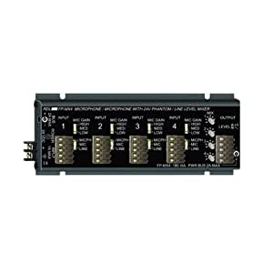 RDL FP MX4 MicLine Mixer 4 Channel Audio, Studio Quality, Switch Selectable 24 V Mic Phantom - Power Supply Included