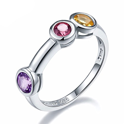 SuperLouisa Fashion Amethyst, Rhodolite & Citrine 925 Sterling Silver Ring Round Gemstones Novelty Jewelry Summer Style