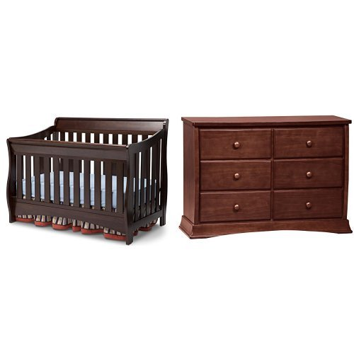 (Delta Children Bentley S Series 4-in-1 Crib, Chocolate and Children Bentley Six Drawer Dresser,)