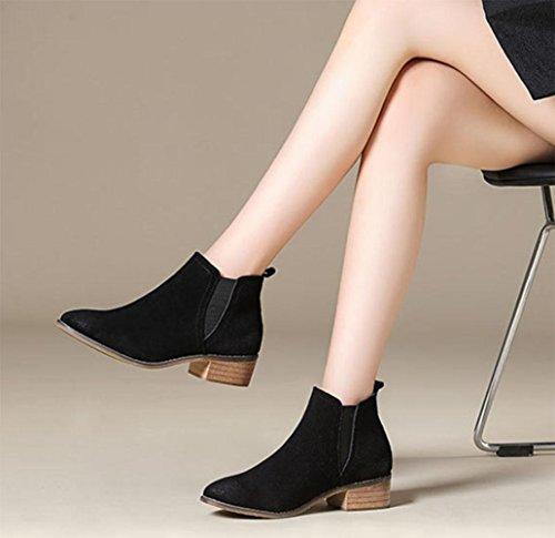 casual shoes cheap women Black boots boots women boots light retro and autumn winter scrub boots KUKI qawO6Rv6x