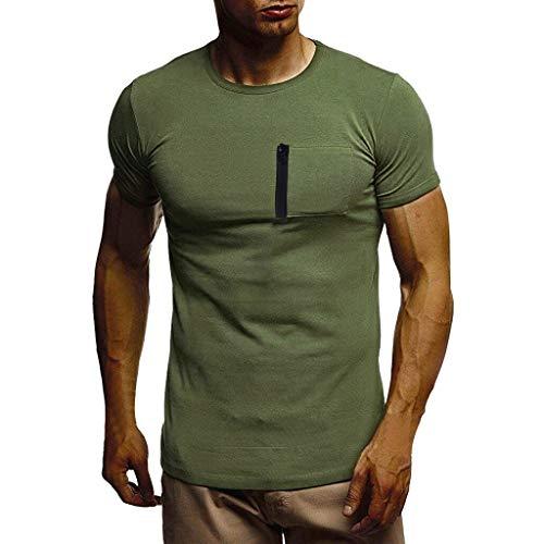 (YAYUMI Men's Summer T-Shirt Short Sleeve Crew Neck Muscle Basic Top Slim Fit Pocket Tee Green)