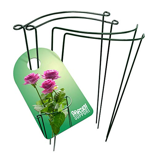 Garden Support Strong & Sturdy Plant Support Cages - 4pcs Metal Rings for Peony Rose & Hydrangea | Green 15.3