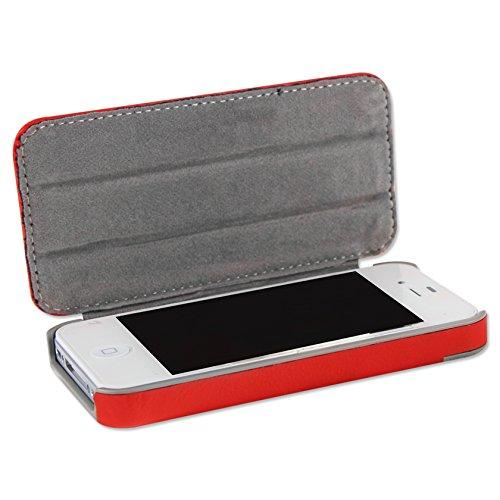 Reiko Fc04-iphone4horserd Cheval Grain de peau de Coque pour iPhone 4–Rouge