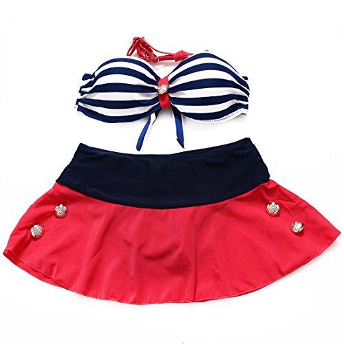 YONGYI Europa y el verano en la Playa Bikini Moda navy rayas bañador, tanto pedazo de Split faldón bañador acero y recoger la ropa interior fina negra vídeo pobreza