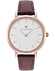 WRISTOLOGY Charlotte Petite Womens Watch Rose Gold Metal Brown Leather Ladies Changeable Strap Band