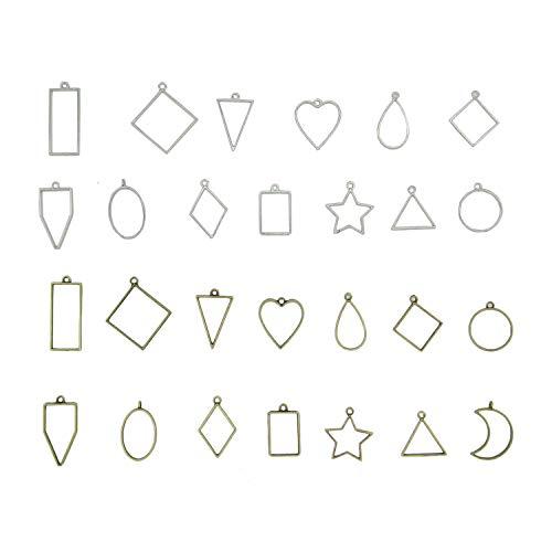 Bobket 27 Pcs Alloy Framework Open Bezel Charm Pendants Hollow Mould Pendants Blanks DIY for Resin Earrings Necklace Bracelet Jewelry Making