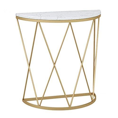 Mesa auxiliar semicircular, mesa de centro creativa Nordic, mesa de coctel, mesa de noche para salon, balcon, pasillo, estructura de metal estable