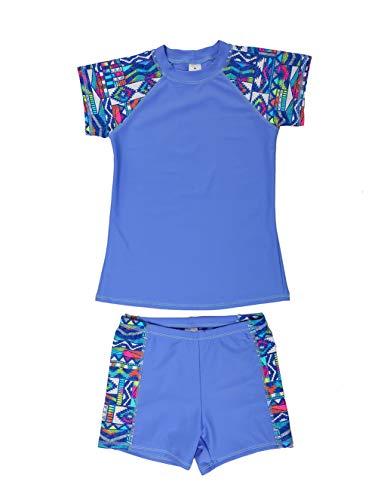LEINASEN Girls 2-Piece Rash Guard Swimsuit, UPF 50+ Sun Protection Short Sleeves Top with Boyshorts, Size 4-16