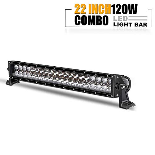 (TURBOSII 20/22 In 120W Led Light Bar Spot Flood Combo Beam Offroad Driving Lights Grille Front Bumper For F150 Golf Cart Jeep Truck Yamaha Rhino Atv 4 Wheeler Duck Boat Zero Turn Mower Rzr 12-24V)