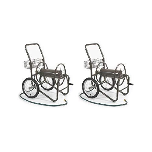 Liberty Garden 2 Wheel Steel Frame Water Hose Reel Basket Cart, Bronze (2 Pack) (Reel Wheel 2 Hose)
