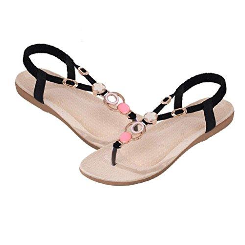Ama (tm) Donna Casual Sandali Con Cinturino Alla Caviglia Bohemien Sandali Con Perline In Dolce Nero