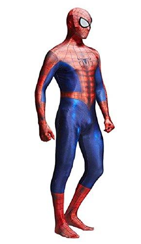 Spiderman Cosplay Costume Suit w/Hood, Mask, Lenses | Spider-Man Zentai Suit -