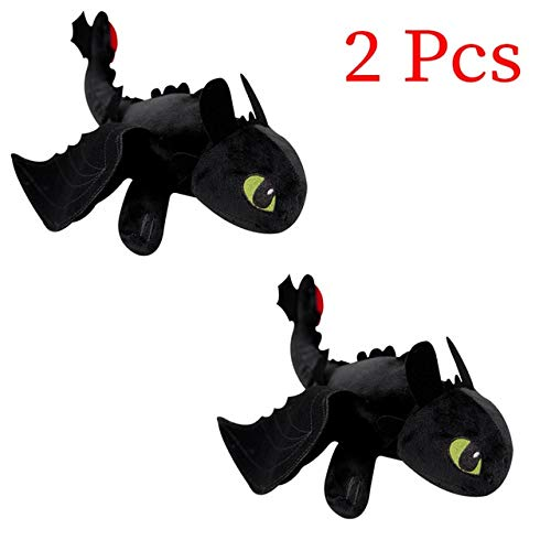eSunny 2Pcs 35Cm How to Train Your Dragon 3 White Toothless Plush Toys Night Fury White Fury Dragon Soft Stuffed Animal Doll Kids New Must Haves The Favourite ()