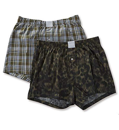 Michael Kors Men's Cotton Underwear Airsoft Touch Stretch Woven Boxers 2-Pack S83W1052 (Fatigue Camo/Plaid, X Large)