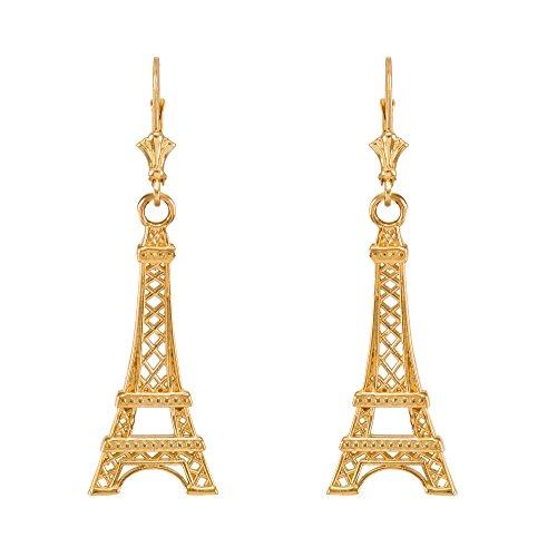 (14k Yellow Gold Paris Eiffel Tower Dangle)