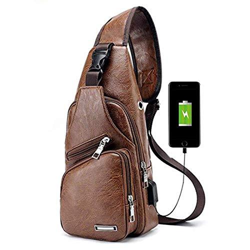 Seoky Rop Leather Sling Bag for Men Travel Shoulder Crossbody Backpack with USB Charging Port Brown