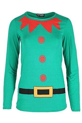Kids Girls Childrens Elf Costume Xmas Christmas Long Sleeve Jersey T Shirt Top - Jealous Girls T-shirt