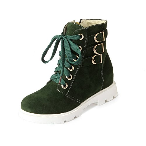 Boots Toe Round Imitated Green Top Women's Kitten Closed Solid WeenFashion Heels Suede Low qP4Ht