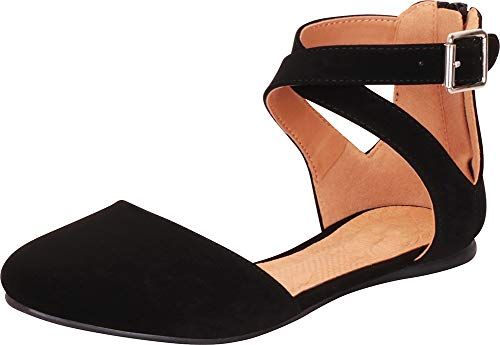 en's Closed Round Toe Buckled Crisscross Ankle Strap Ballet Flat (9 B(M) US, Black NBPU) ()