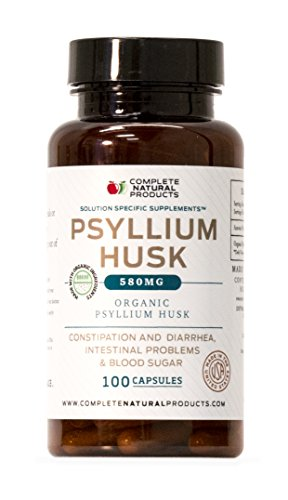 Organic Natural Whole Psyllium Husk Powder Capsules - 580mg Capsules 100 Pure Unflavored Fiber & Colon Cleanse Pills by Complete Natural Products (Image #4)
