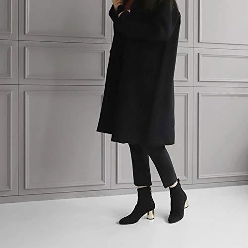 Shukun Stivaletti Autunno Tacco Tacco Tacco Alto Spesso con Stivali Martin nero Pointed Fashion Personality Skinny Legs Stivali Kids stivali, 37, Nero c9435b