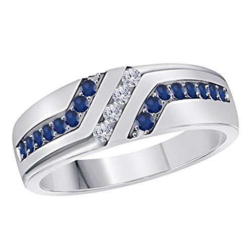 Star Retail Jewelryhub Men's Wedding Anniversary Band Ring in White Platinum Plated Alloy White CZ and Lab Blue Sapphire Size 6-14
