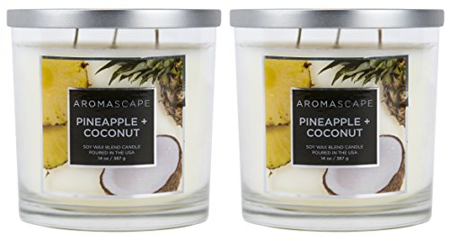 Coconut Candle Glass - Aromascape 3-Wick Scented Jar Candle, Pineapple and Coconut, 2-Count