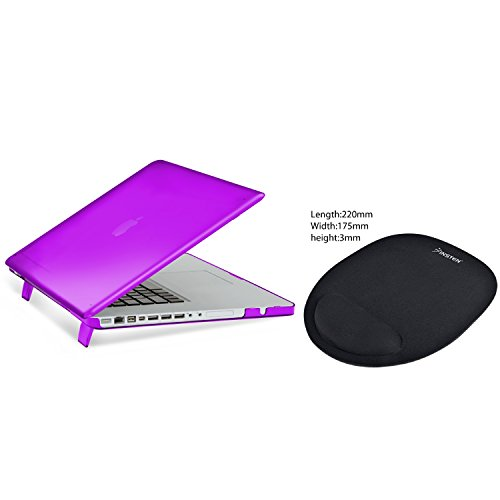 "MacBook Pro 15"" Case, Insten Purple Snap-in Rubber Case + Comfort Mouse Pad compatible with Apple MacBook Pro 15"""