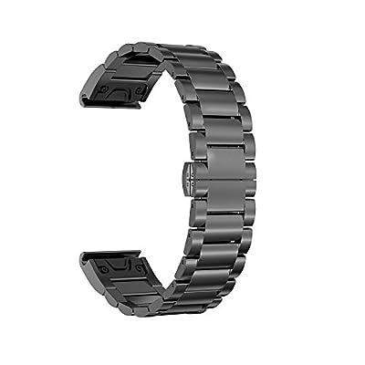 ECSEM 22 Watch Bands for Garmin Forerunner 935 Bands, Replacement Distinctive Stainless Steel Wrist Band Quick Fit for Garmin Forerunner 935 Running GPS Unit Smartwatch