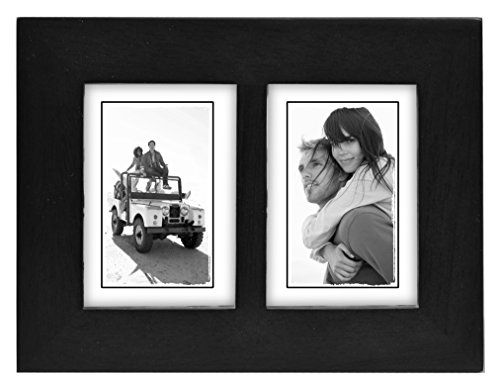Malden International Designs Linear Classic Wood Picture Frame, Split Double, 2-2x3, Black