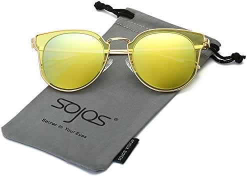 SojoS Fashion Polarized Sunglasses Metal Frame UV400 Mirrored Lenses SJ1057