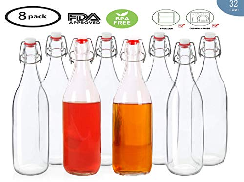 MAMA-AI-2018 32 oz Clear Glass Bottles with Air Tight Lids,Easy Cap Bottles for Beer and Home Brewing,Glass Kombucha Bottles with Stoppers,Swing Top Bottles for Beverages 8 Pack