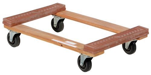 Vestil-HDOR-1830-12-Rubber-End-Hardwood-Dolly-with-Hard-Rubber-Casters-1200-lbs-Capacity-30-Length-x-18-Width-x-7-Height-Deck
