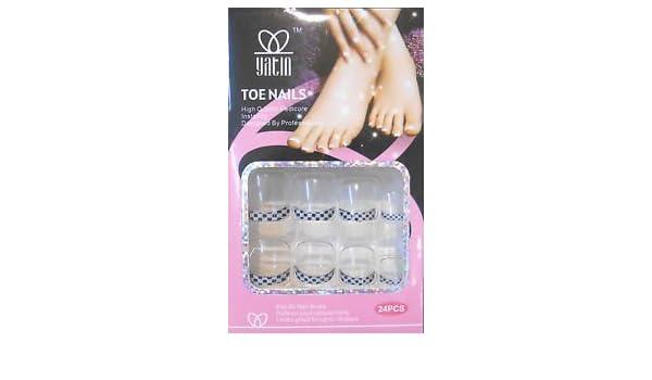 Uñas postizas para pies, transparentes con French a cuadros: Amazon.es: Belleza